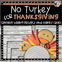 No Turkey for Thanksgiving Writing Project available on Teachers Pay Teachers