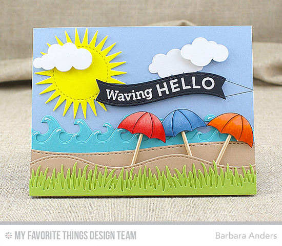 Waving Hello Card by Barbara Anders featuring the Go Overboard stamp set, and the Radiant Sun, Puffy Clouds, Making Waves, Stitched Snow Drifts, Grassy Edges, Blueprints 25, and Lisa Johnson Designs All Heart Die-namics #mftstamps