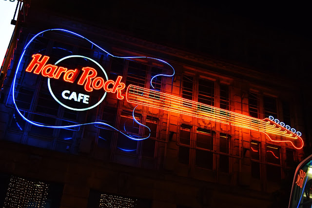 the huge neon sign outside the Hard Rock Cafe Manchester