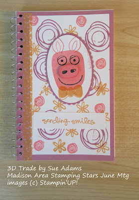 Playful Pals stamp set decorates the front of a re-covered spiral notebook