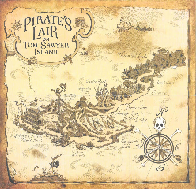 Pirate's Lair On Tom Sawyer Island Trading Card Map