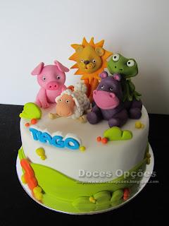 bolo animais pasta açucar