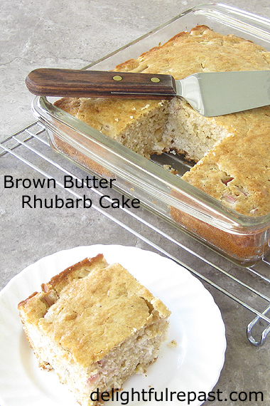 Brown Butter Rhubarb Cake - an easy hand-mixed cake / www.delightfulrepast.com