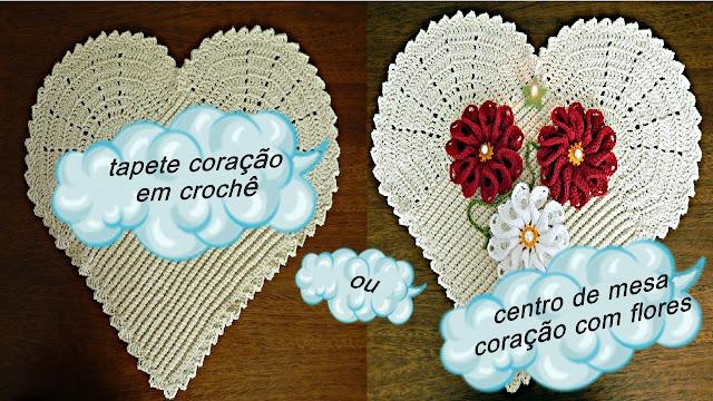 Edinir Croche ensina tapete coração de crochê para canhotos passo a passo