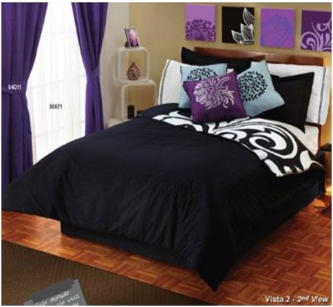 Black and white and purple bedroom set