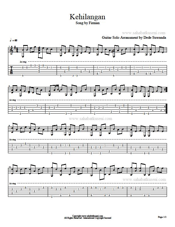 tab gitar not balok lagu kehilangan dari Firman