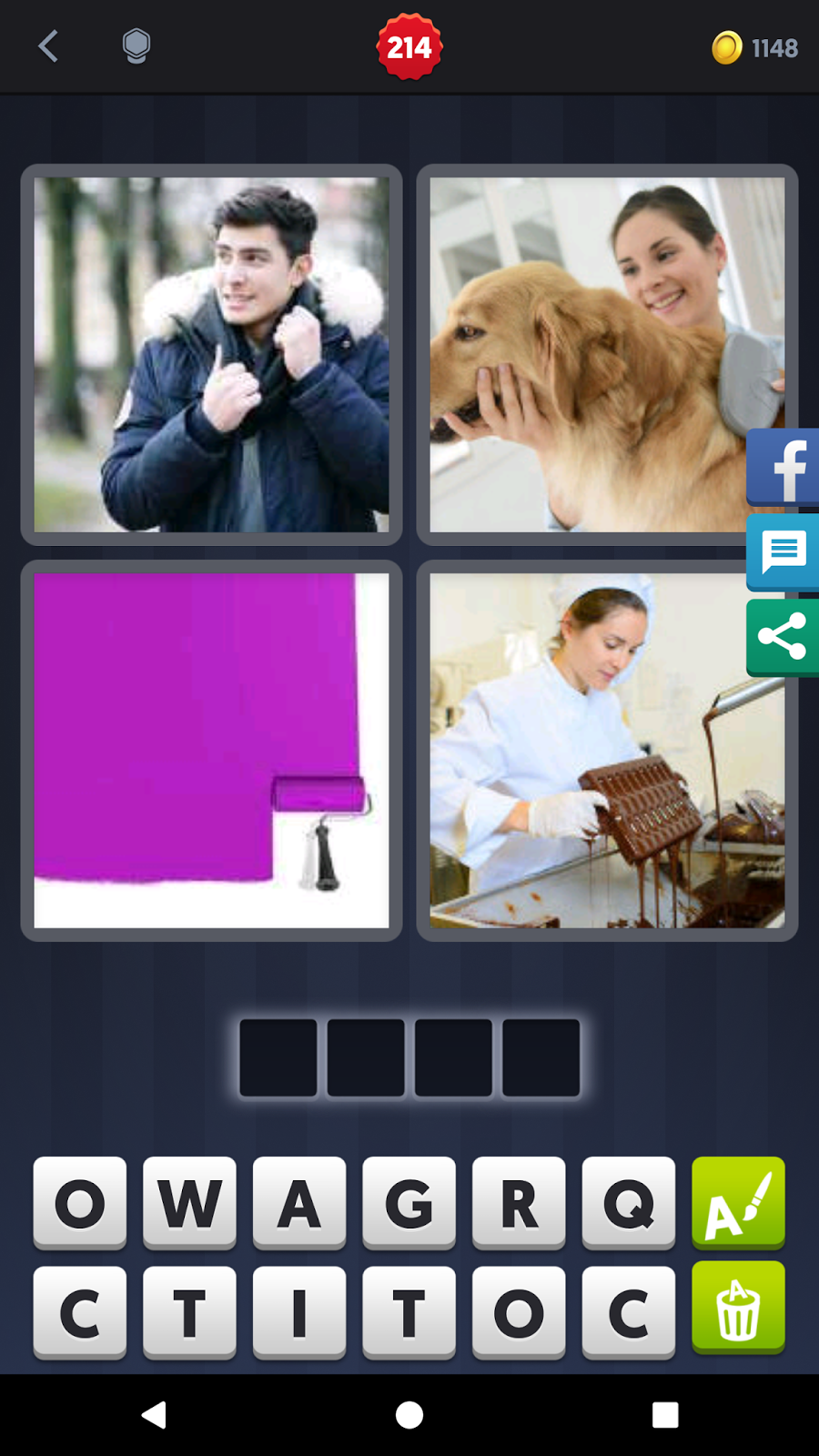 4 pics 1 word answers solutions level 214 coat keyword 4 letter word coat dip rub cold paint dog expocarfo Gallery