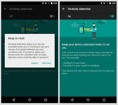 smartlock deteksi pada tubuh android