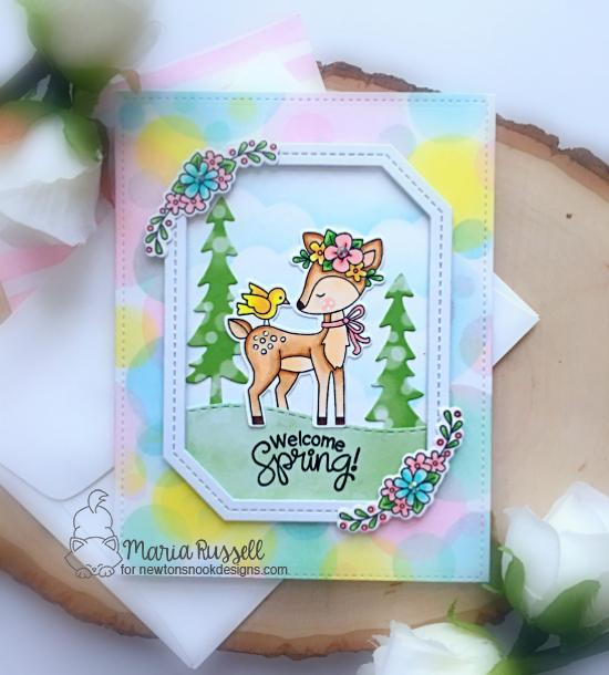 Spring deer card with flowers by Maria Russell | Woodland Spring Stamp Set, Land Borders and Forest Scene Builder Die Sets and Bokeh Stencil Set by Newton's Nook Designs #newtonsnook #handmade