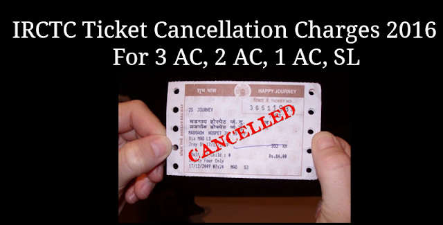 IRCTC Ticket Cancellation Charges 2016 for 3 AC, 2 AC, 1 AC, SL