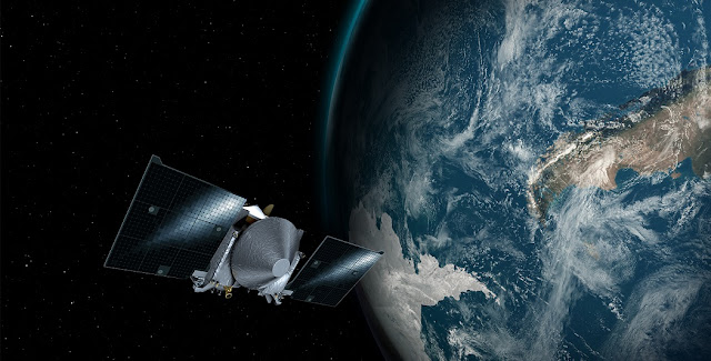 This artist's concept shows the OSIRIS-REx spacecraft passing by Earth. Credits: NASA's Goddard Space Flight Center/University of Arizona.