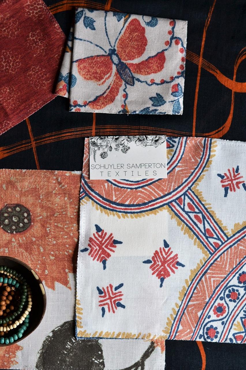 Schuyler Samperton Textiles, hönnun, mynstur, efni: Nellcote, Caledonia, Celandine · Lísa Hjalt