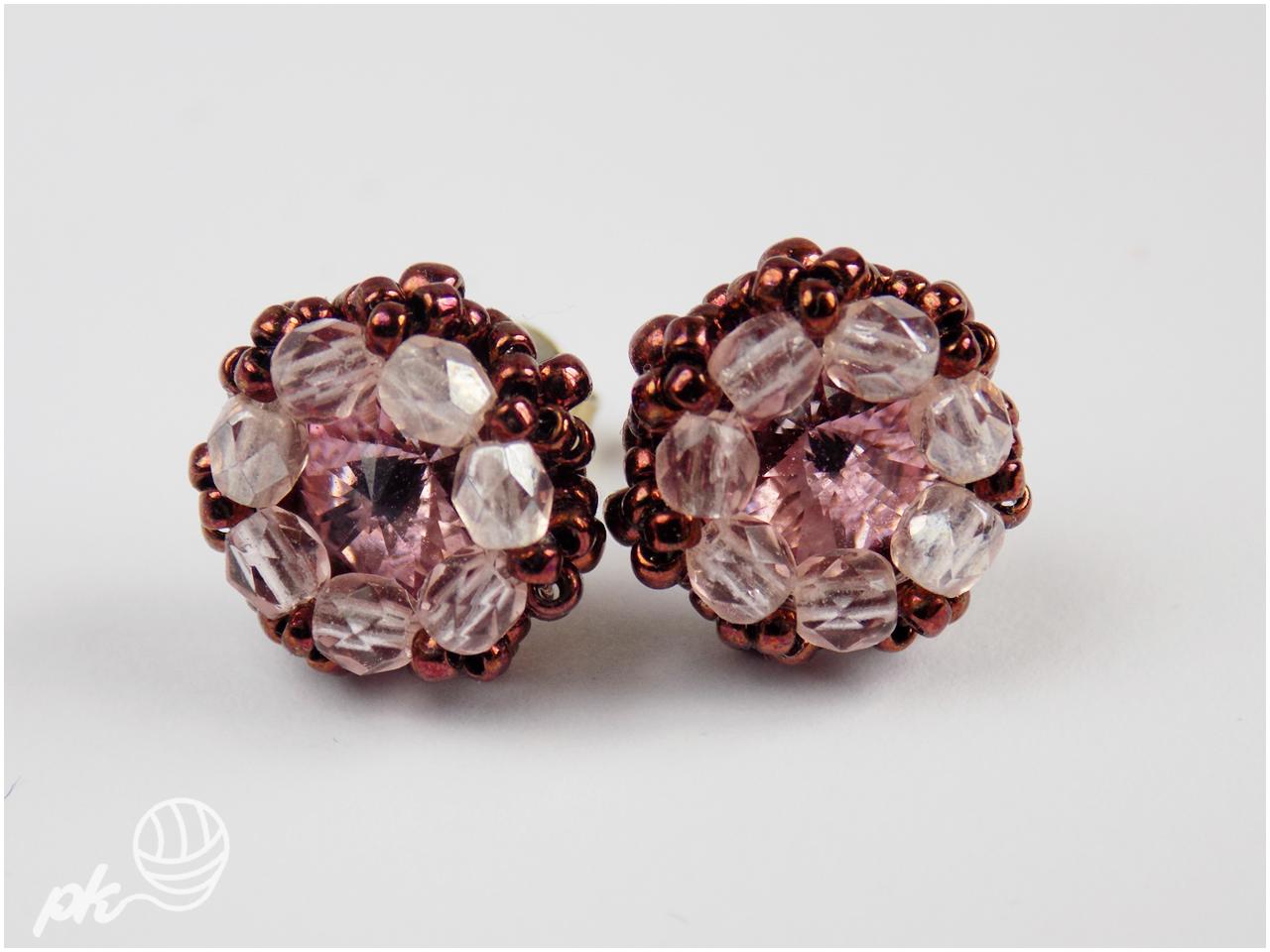 rivoli, kolczyki, beading, handmade, rękodzieło, biżuteria, swarovski, koraliki toho, szklane perły, koraliki fire polish