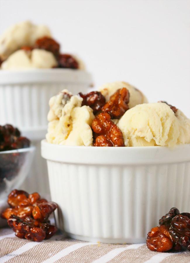 receta helado de vainilla y nueces