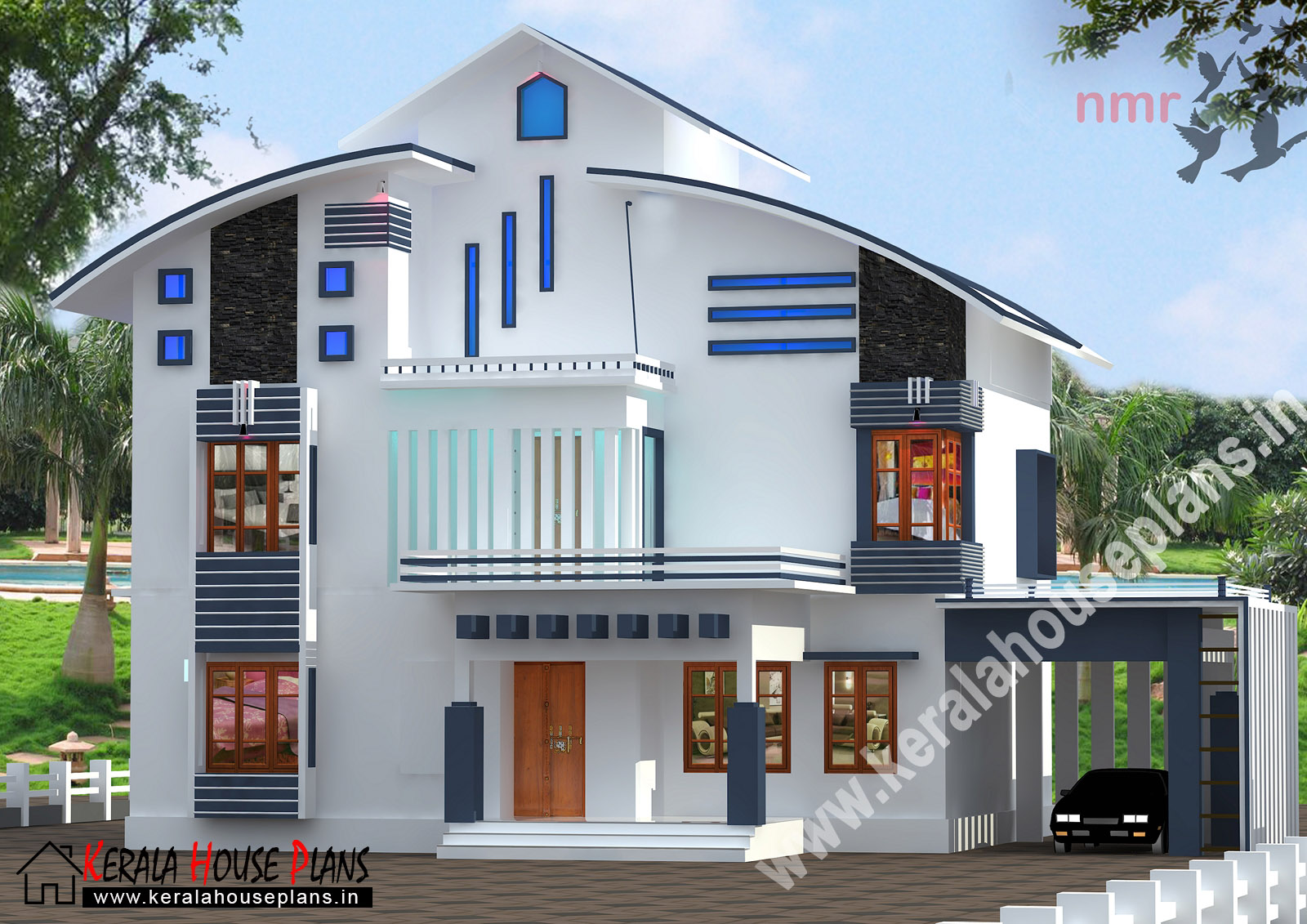 2150 sqft beautiful double floor house kerala house for Two floor house plans in kerala