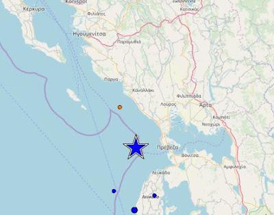 Έντονη σεισμική δόνηση στα παράλια της Ηπείρου