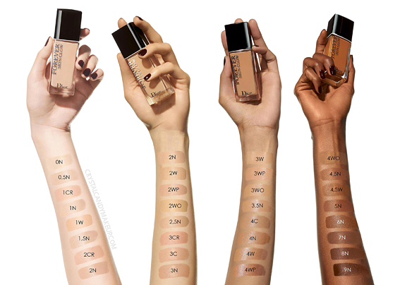Dior Forever Skin Glow 24h Radiant Skin-Caring Foundation Swatches All Shades