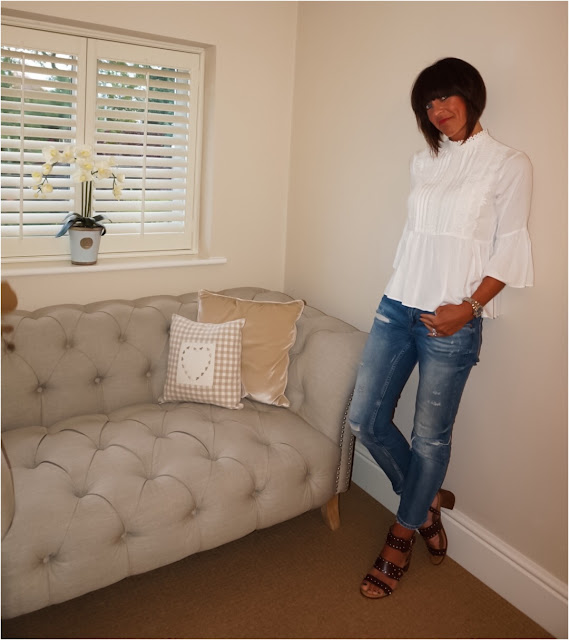 My Midlife Fashion, Zara lace trim blouse, cigarette distressed jeans, topshop venus stud block heel sandals
