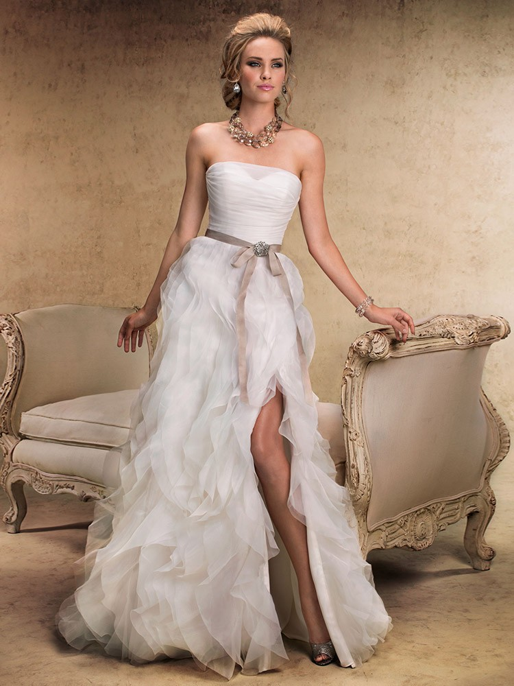 Sweep Train Split Front White Organza Sashes / Ribbons Strapless Wedding Dress