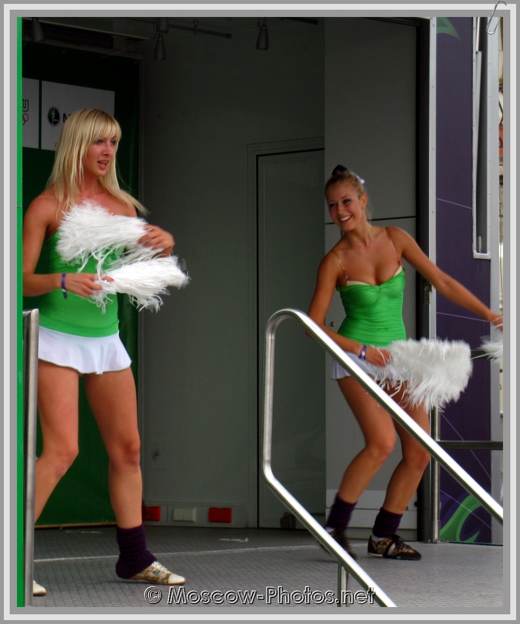 Moscow dancing girls in white micro skirts