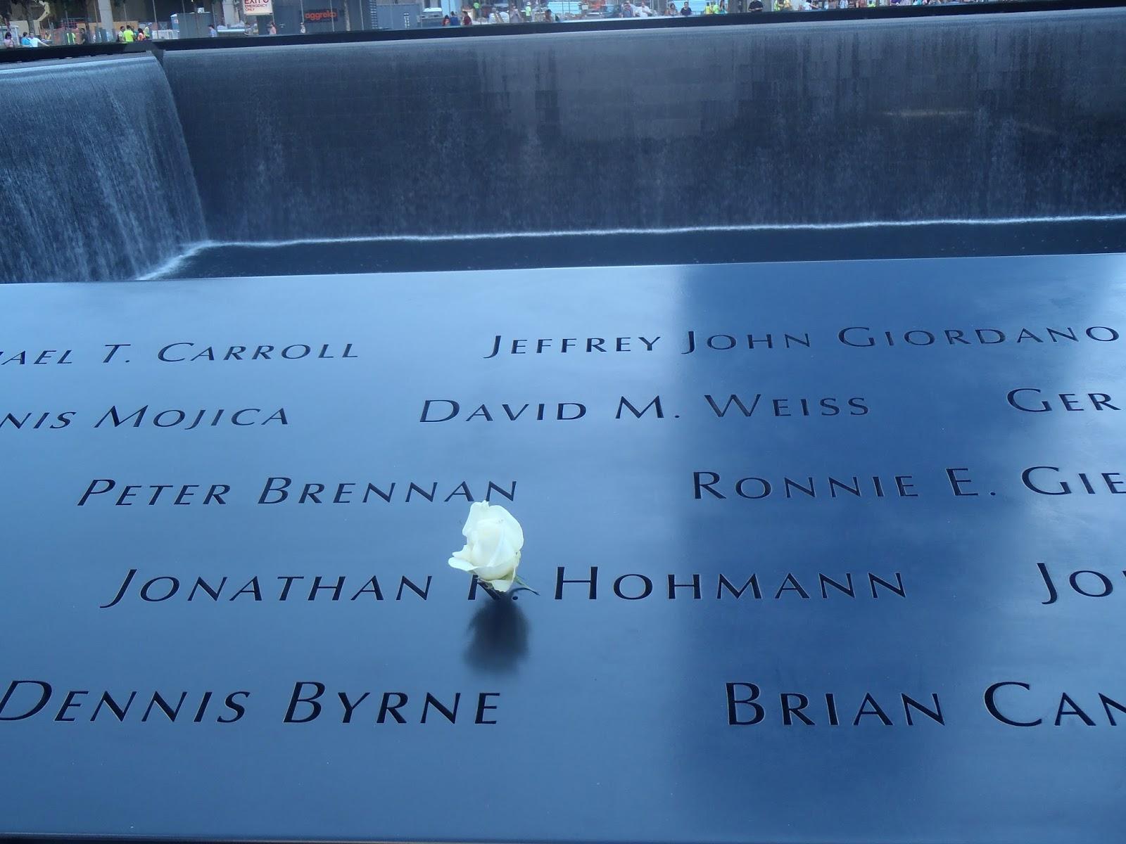 Birthday rose at 9/11 Memorial New York City