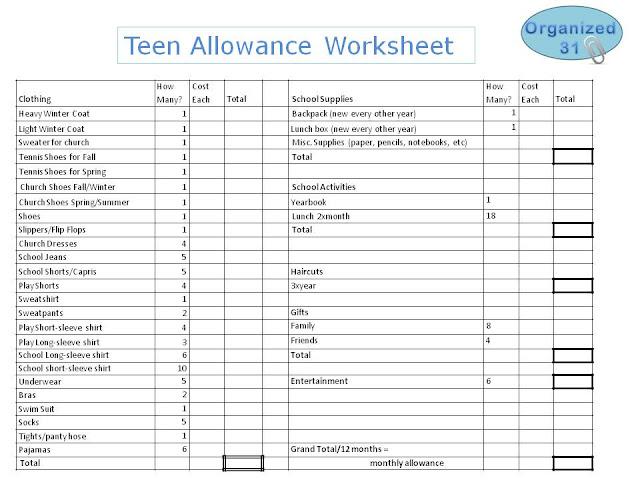 Organized 31 - How to Calculate Teen's Allowance