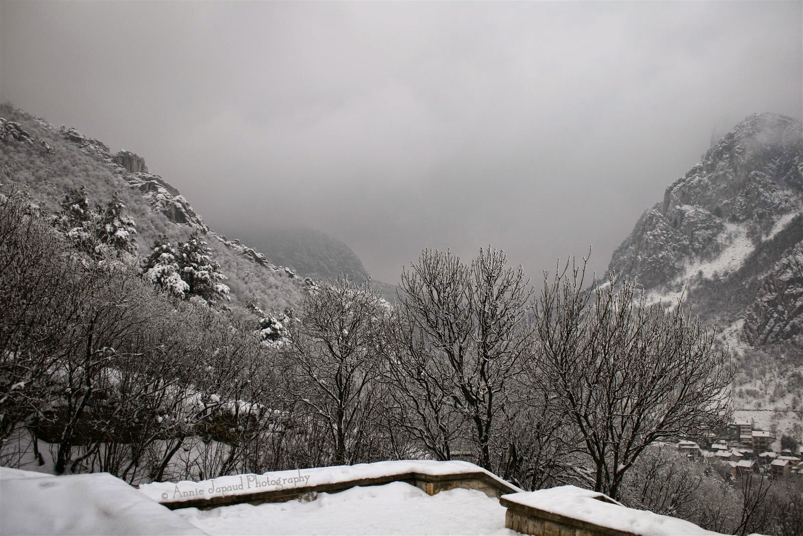 snow landscape with mountains Vratsa, Bulgaria