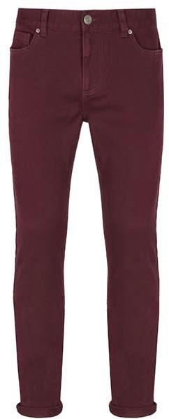Pantalones pitillo para hombre en color vino
