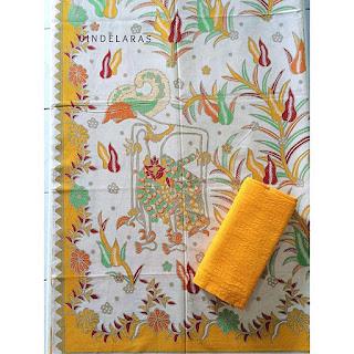 kain batik printing wayang kuning mix embos