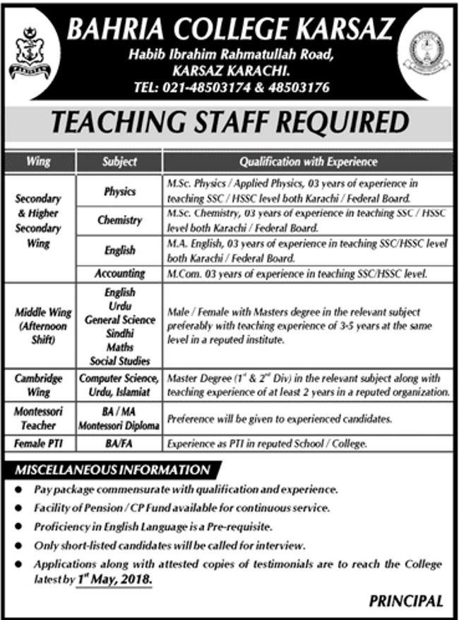 Today New Jobs in Bahria College Karsaz Karachi