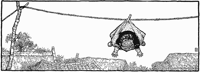 a W. Heath Robinson illustration of a child pinned to a clothes drying line