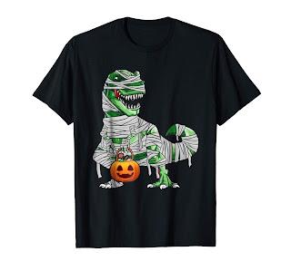 Halloween Pumpkin Dinosaur T Shirt Gift for Kids Boys Girls