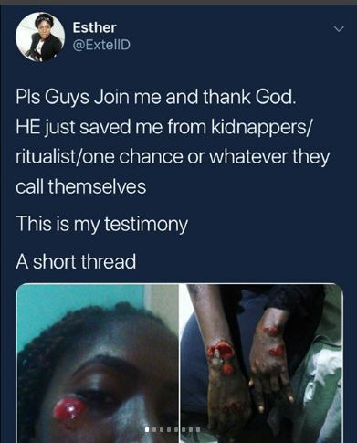Port Harcourt Lady Bravely Escaped From Suspected 'One Chance' Kidnappers high speed car (Graphic)