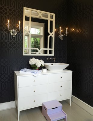 Setting for Four: Black Bathroom with Trellis Wallpaper