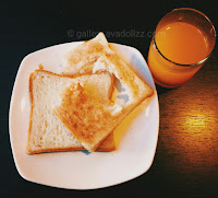 Simple breakfast, breads and orange juice