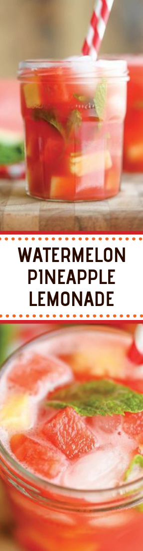 WATERMELON PINEAPPLE LEMONADE #drinks #cocktail #summer