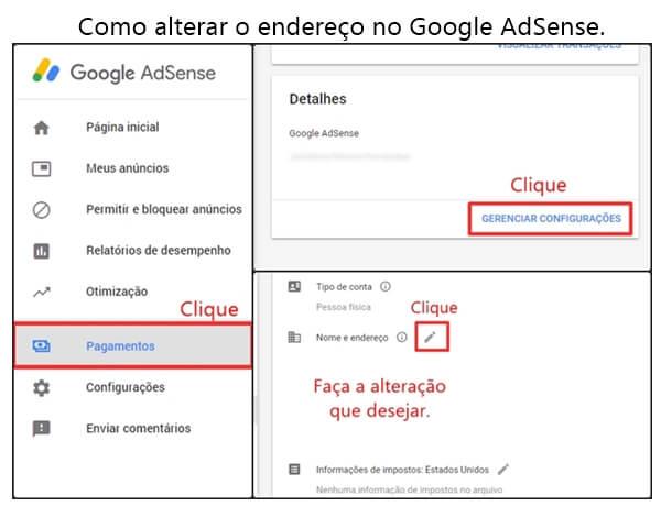 Como alterar o endereço do Google AdSense