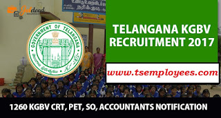 TS KGBV Recruitment 2017 Notification For 1260 SO  Contract Resource Teachers CRT Jobs