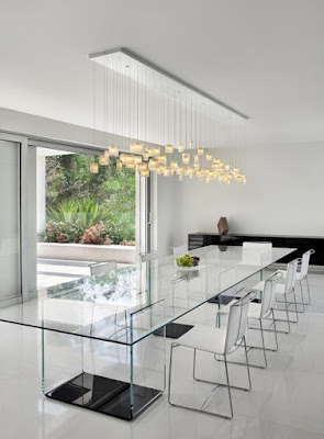 Modern lighting over dining room table
