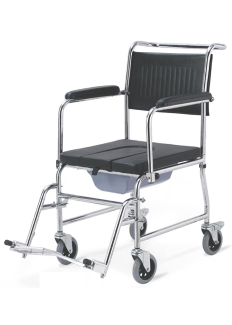 Rolling Shower Commode Chair for Elderly People | Wheelchair India ...