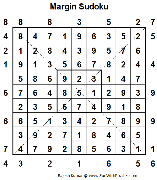 Margin Sudoku (Fun With Sudoku #26) Solution