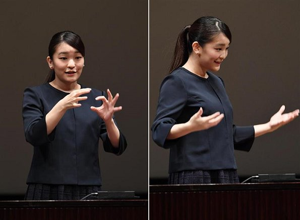 Princess Mako, the eldest granddaughter of Emperor Akihito and Empress Michiko, attended the 34th High School Sign Language Speech Contest in Yurakucho
