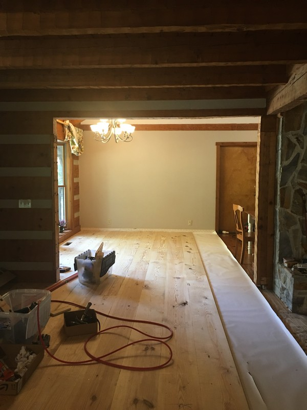 DIY_12_wide _plank_pine_floor_log_wall_remove