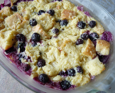 Lemon Bread Pudding with Blueberries