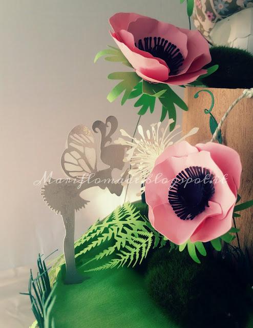 diaper cake, torta pannolini, fate, bosco incantato, silhouette cameo, paper flower