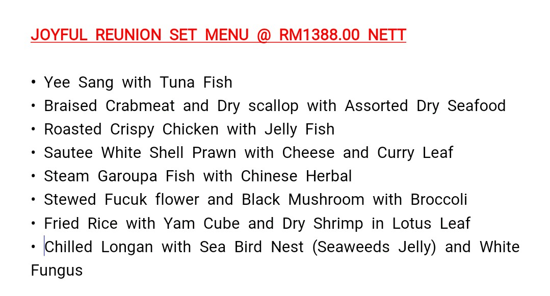 Chinese New Year 2018 Di Tung Yuen Chinese Restaurant Hotel Grand BlueWave Shah Alam