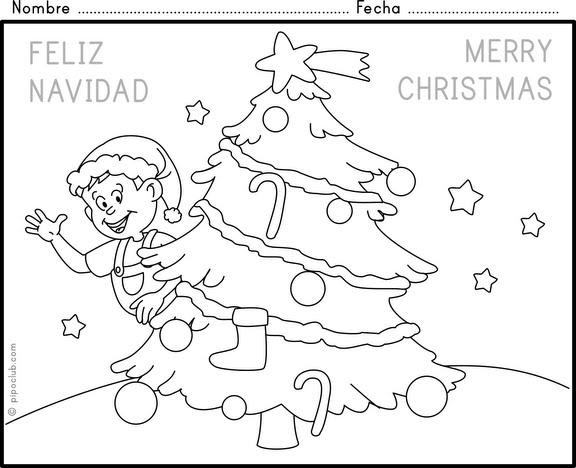 Felicitaciones De Navidad Para Colorear Diseños De Casas De Campo
