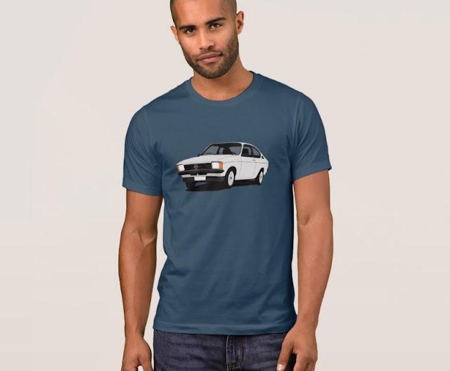 White Opel Kadett C Coupé 70's t-shirts