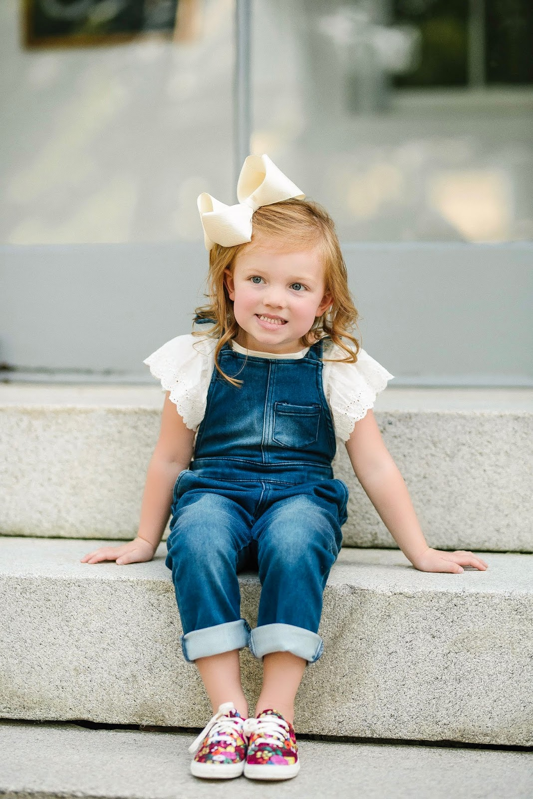 Kid's Fashion: Target Style Ruffle Overalls  and Keds x Rifle Paper Co. Sneakers - Something Delightful Blog