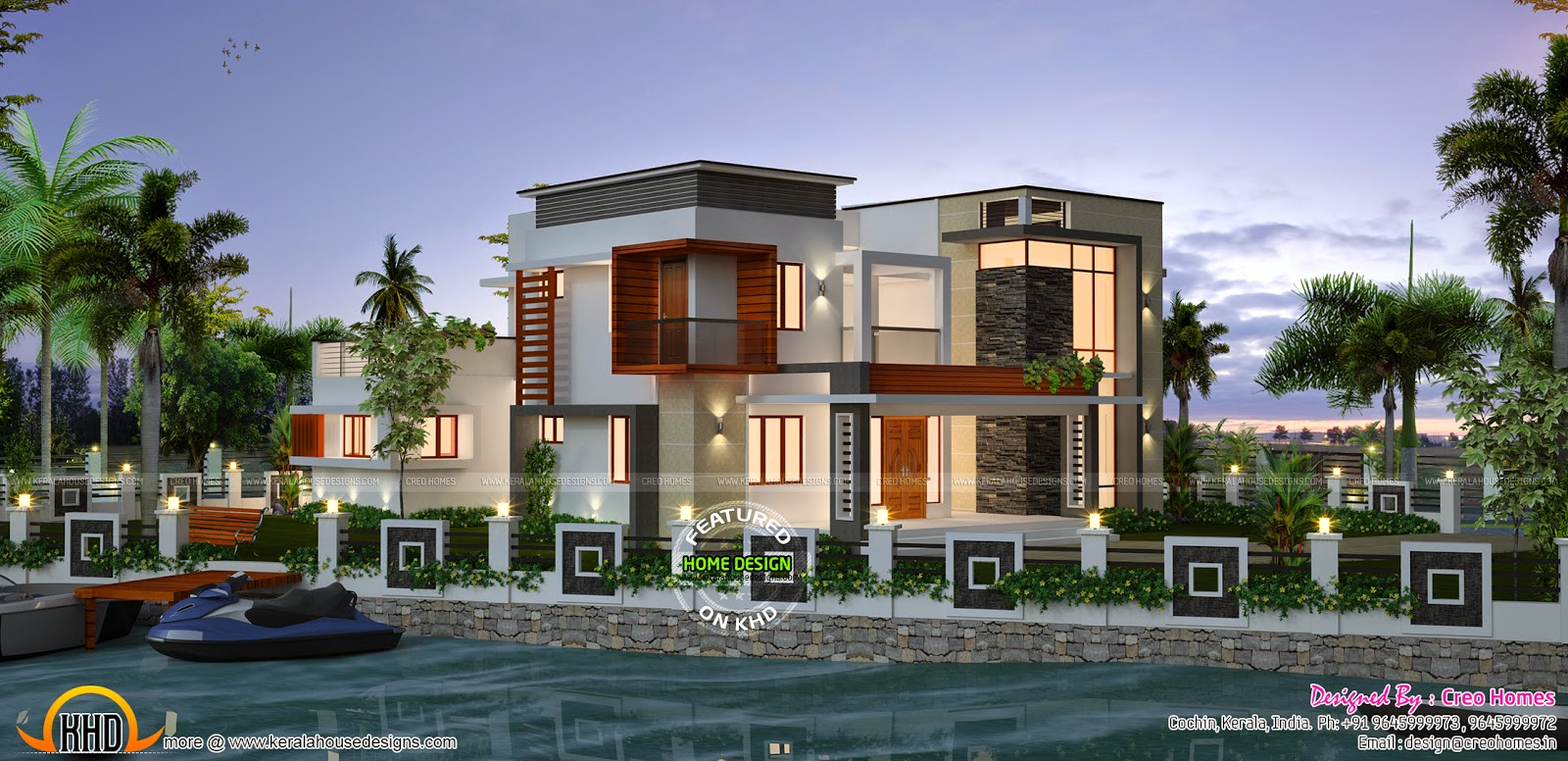 Waterfront house design kerala home design and floor plans for Waterfront house plans designs